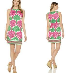 London Times Lilly Pink & Green Geo Shift Dress